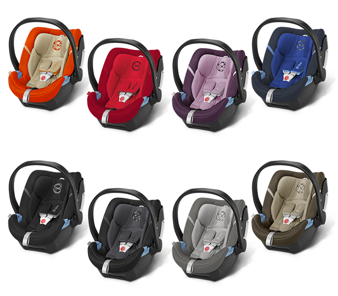 Cybex Aton 4 2016 in Autumn Gold, Mars Red, Princess Pink, Royal Blue, Happy Black Phantom Grey, Manhatten Grey und Olive Khaki