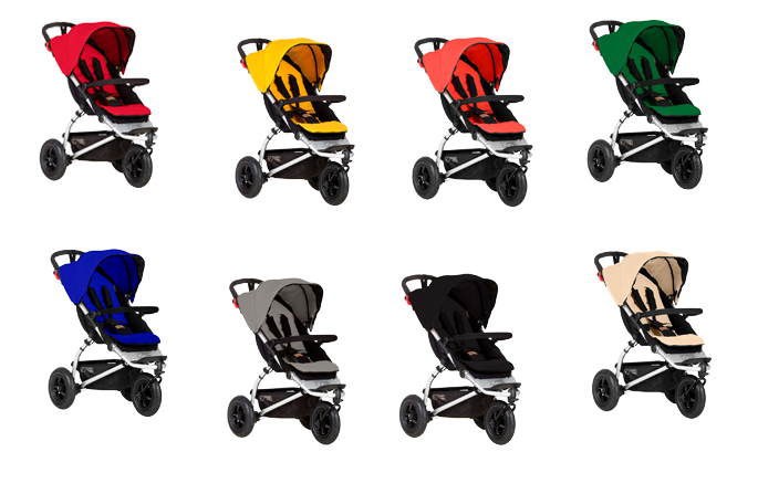 Mountain Buggy Swift in Berry, Gold, Coral, Fern, Marine, Silver, Black und Sand