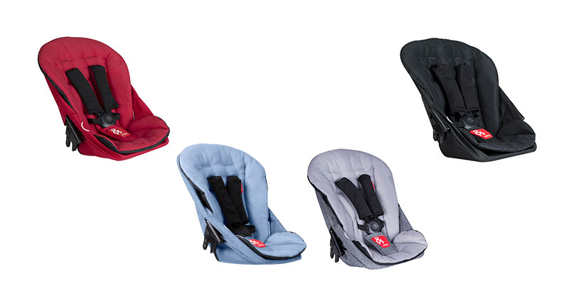 phil & teds Dash double kit in red, grey marl, blue marl und black
