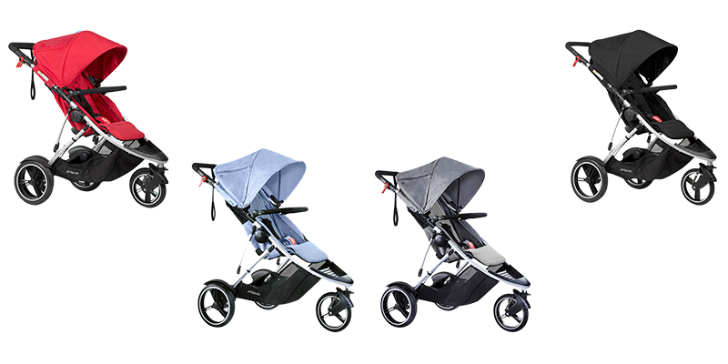 phil & teds Dash in red, grey marl, blue marl und black