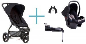 Bundel Mountain Buggy Mini 2017 black + Babyschale Protect + Adapter clip25V2 + CSbase (base)