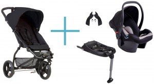 Bundel Mountain Buggy Mini 2017 black + Babyschale Protect + Adapter clip25V2 + CSbiso (isofix base)