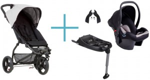 Bundel Mountain Buggy Mini 2017 silver + Babyschale Protect + Adapter clip25V2 + CSbiso (isofix base)