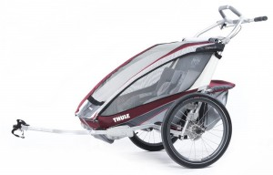 Thule Chariot CX2 2016 Burgundy/Rot+Fahrradset Thule 001