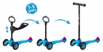 Mini Micro 3in1 Kinderroller Neon Blau – Bild 2