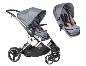 Kinderwagen Phil & Teds Voyager double kit bundle grey marl 2017