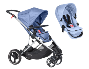 Kinderwagen Phil & Teds Voyager double kit bundle blue marl 2018