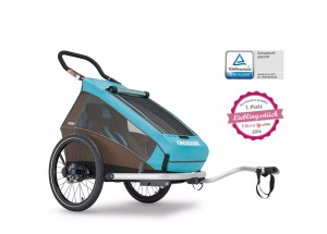 Croozer Kid Plus for 1+ Gratis Regenverdeck Kinderanhänger 2017 blau – Bild 9