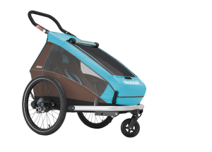 Croozer Kid Plus for 1+ Gratis Regenverdeck Kinderanhänger 2017 blau – Bild 2