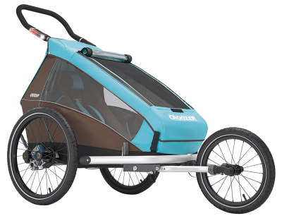 Croozer Kid Plus for 1+ Gratis Regenverdeck Kinderanhänger 2017 blau – Bild 3